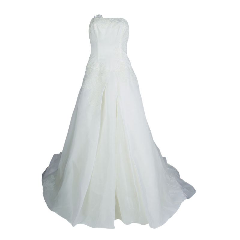 Buy White By Vera Wang Strapless Lace Wedding Gown L 66771 At Best