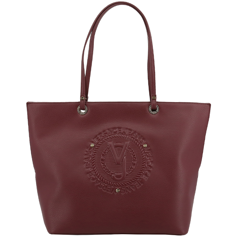 Versace Jeans Dark Red Faux Leather Shopper Tote