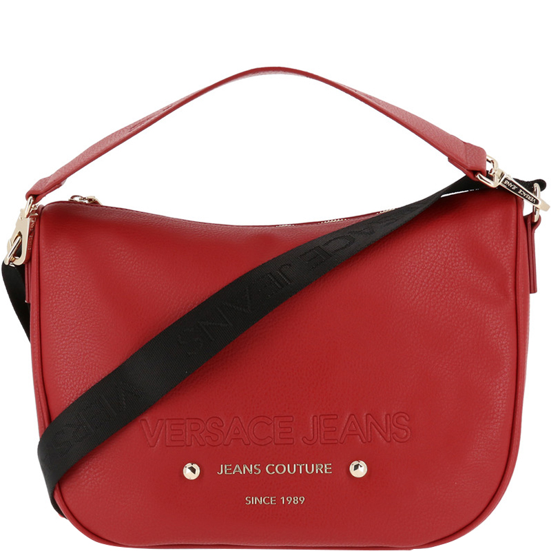 65d764078d65 Buy Versace Jeans Red Faux Pebbled Leather Messenger Bag 161925 at ...