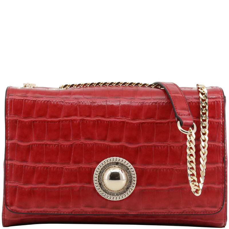 ac079cfb50 ... Versace Jeans Red Croc Embosed Faux Leather Chain Shoulder Bag.  nextprev. prevnext