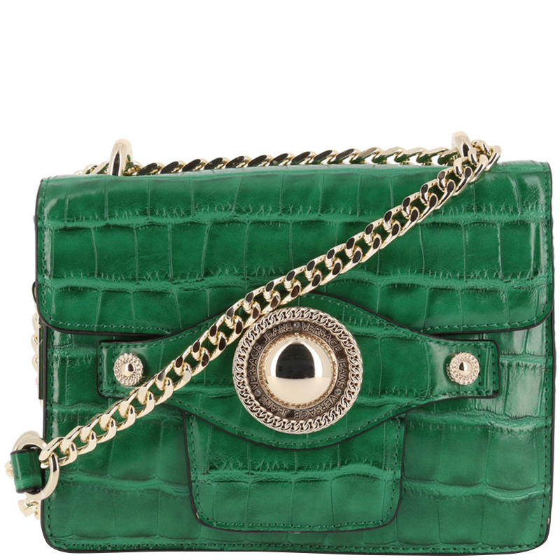 ... Versace Jeans Green Croc Embosed Leather Chain Crossbody Bag. nextprev.  prevnext dd4156d4172fa
