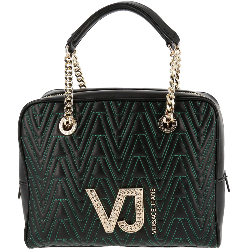 aef5a272b53d ... Versace Jeans Black Signature Faux Leather Satchel Bag. nextprev.  prevnext