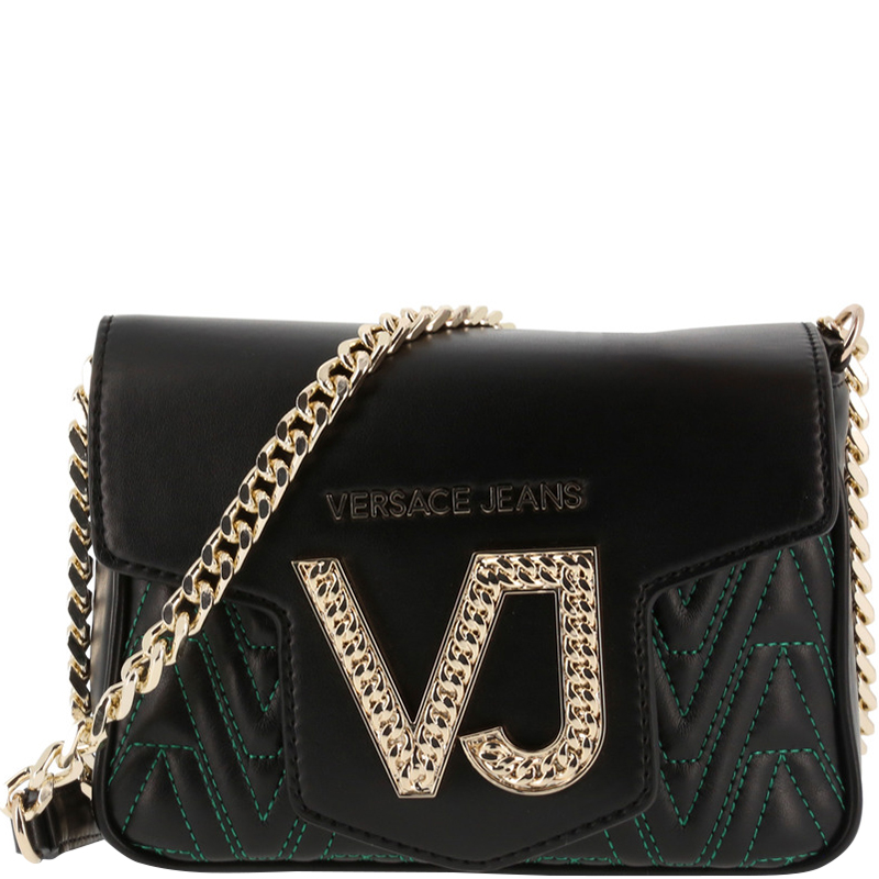 1a46ca1e86 ... Versace Jeans Black Signature Leather Chain Crossbody Bag. nextprev.  prevnext