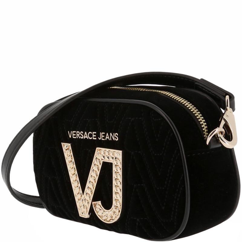 Versace Jeans Black Signature Fabric Crossbody Bag