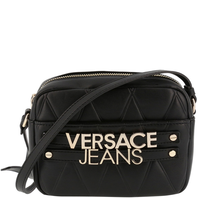 c8bb2a1eeb Versace Jeans Black Faux Quilted Leather Crossbody Bag