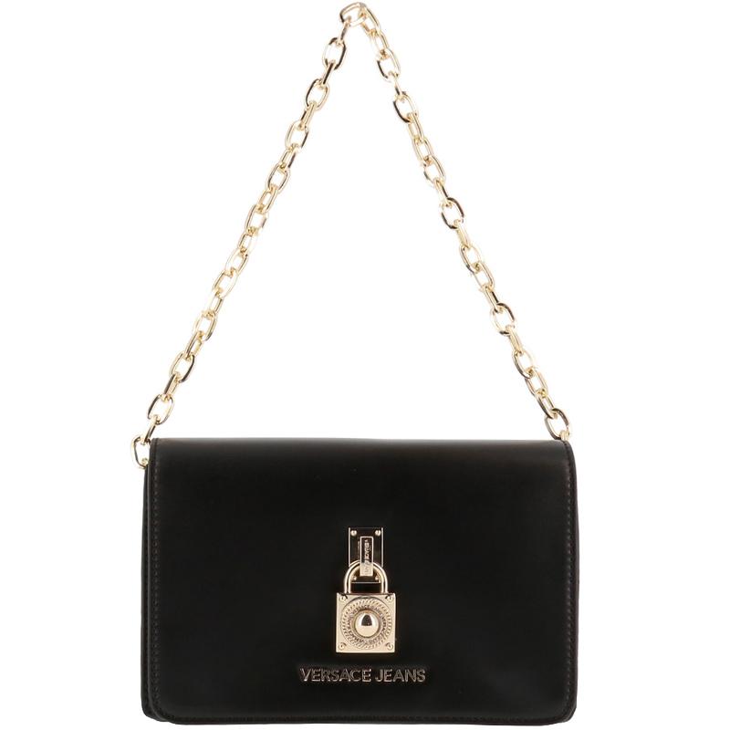 fec36667 Versace Jeans Black Leather Chain Flap Bag