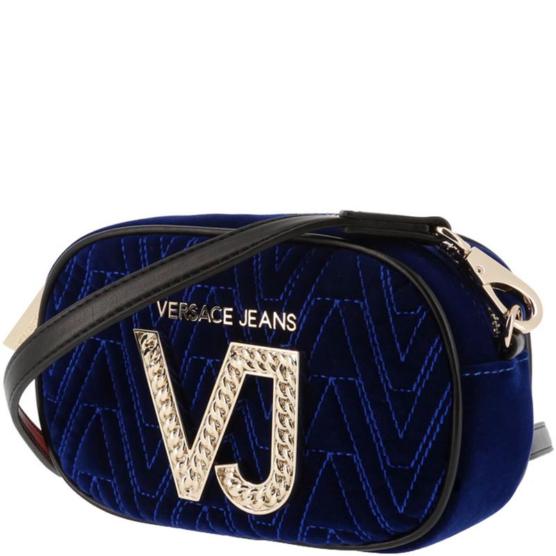 Versace Jeans Bue Signature Fabric Crossbody Bag, Blue