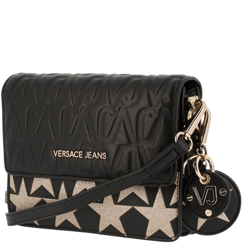 Купить со скидкой Versace Jeans Black Signature Faux Leather Star Clutch Bag