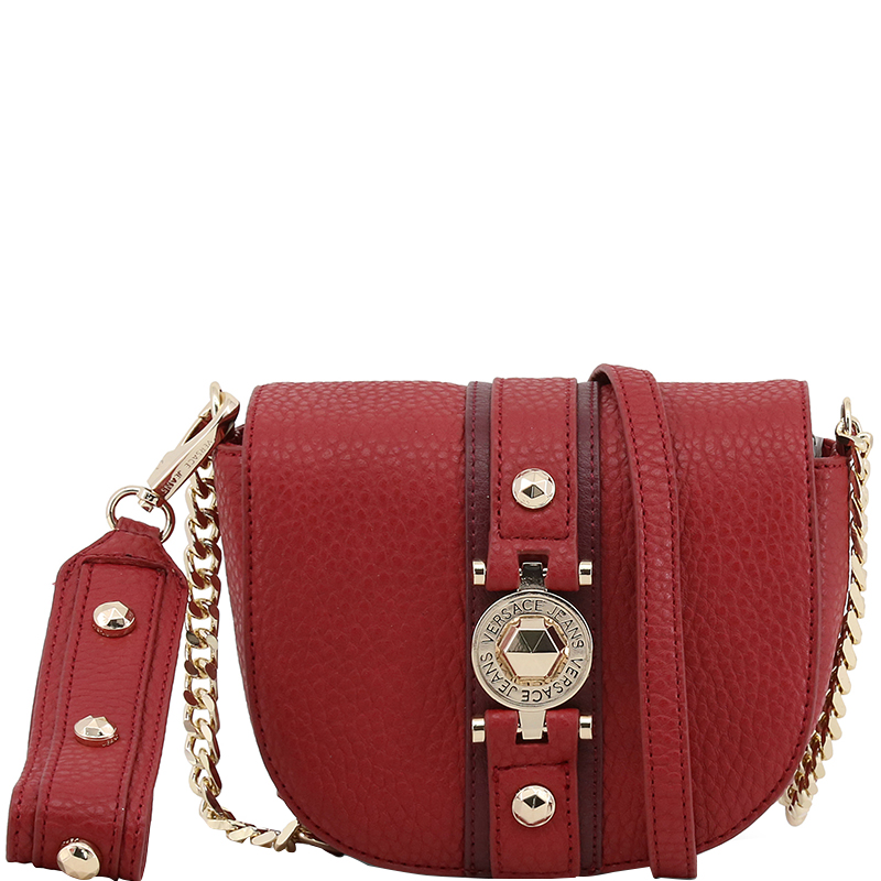 9f14b95a6d ... Versace Jeans Red Faux Pebbled Leather Chain Crossbody Bag. nextprev.  prevnext