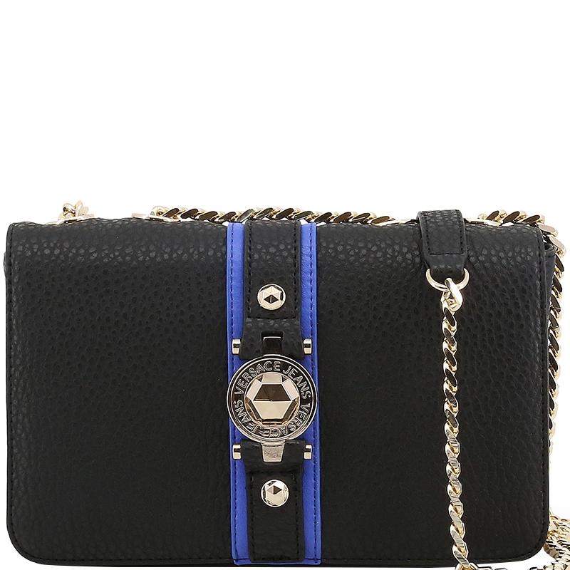 Versace Jeans Black Pebbled Leather Chain Flap Bag