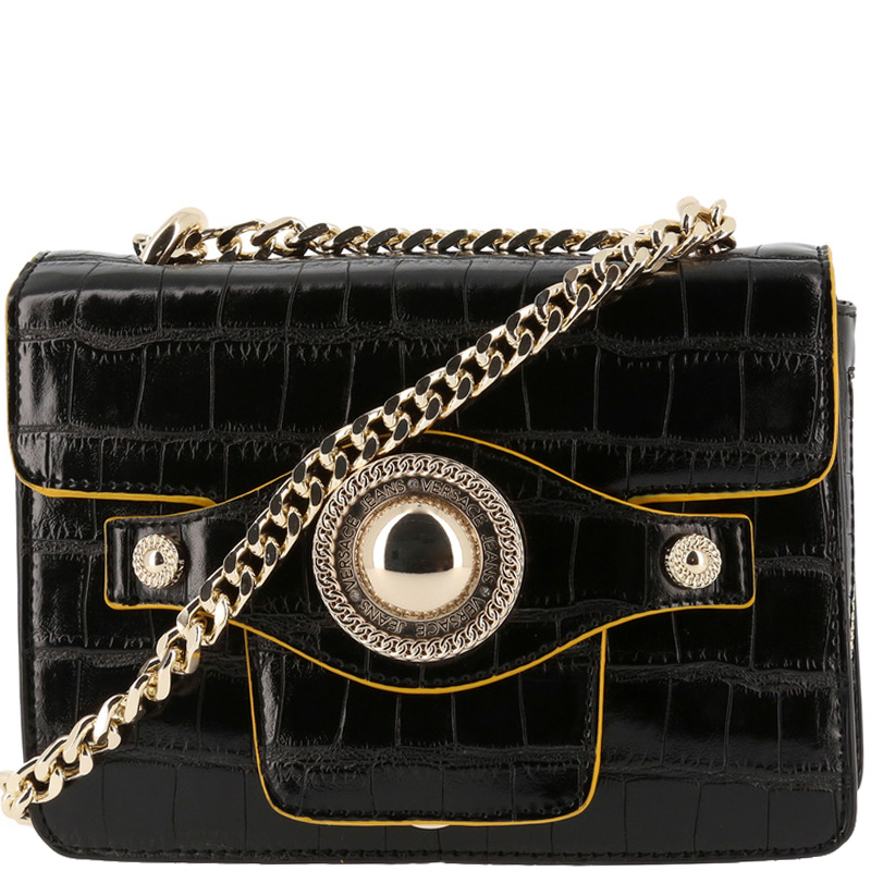 ... Versace Jeans Black Croc Embosed Leather Chain Crossbody Bag. nextprev.  prevnext b50514c57aa1b