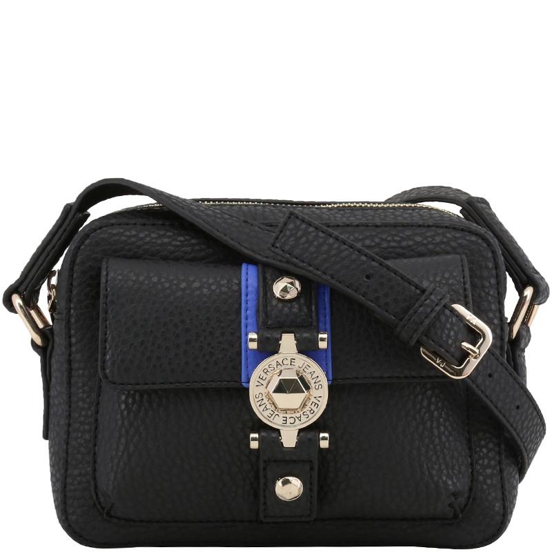 dac3cda061 Versace Jeans Black Pebbled Faux Leather Crossbody Bag