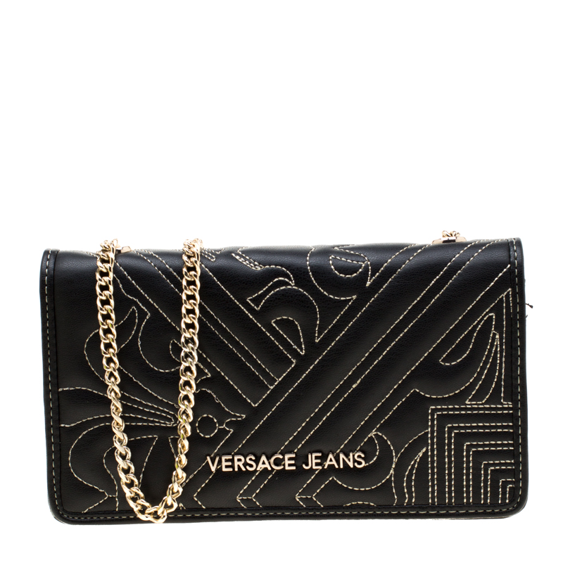 96983bffb56 ... Versace Jeans Black Quilted Faux Leather Chain Clutch Bag. nextprev.  prevnext