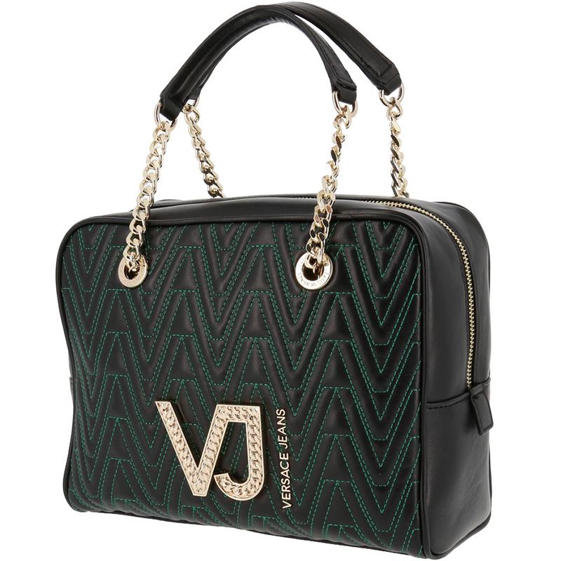 Versace Jeans Black Signature Faux Leather Satchel Bag