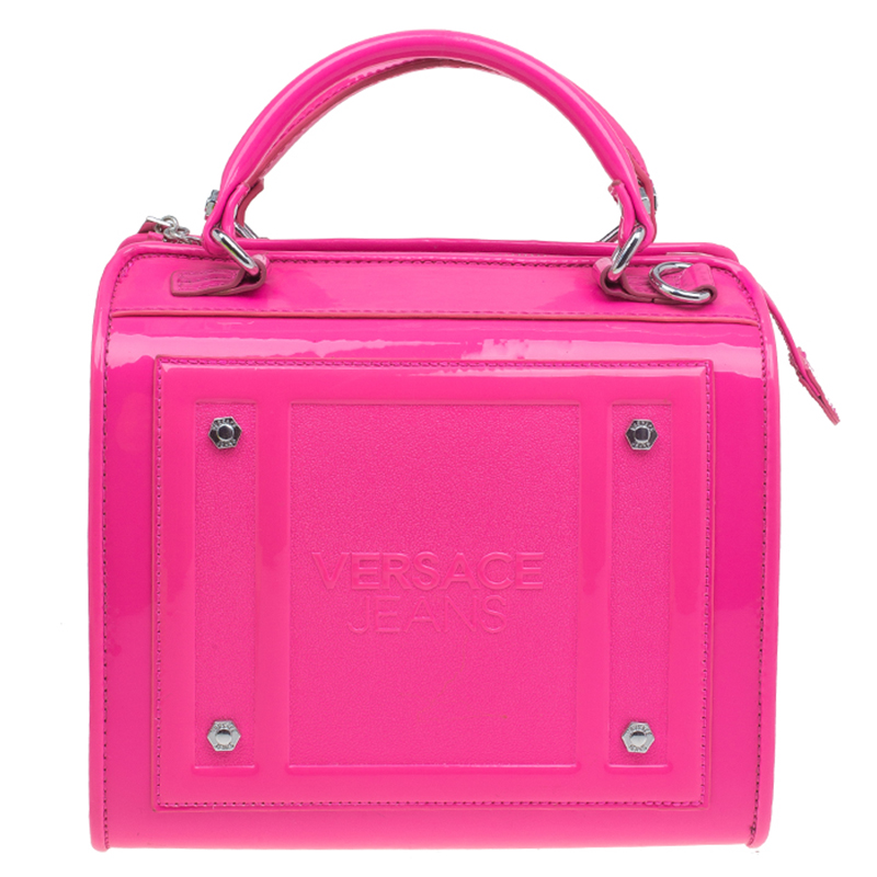 1dc7114c59 Buy Versace Jeans Pink Patent Leather Medium Box Top Handle Bag 48563 at  best price