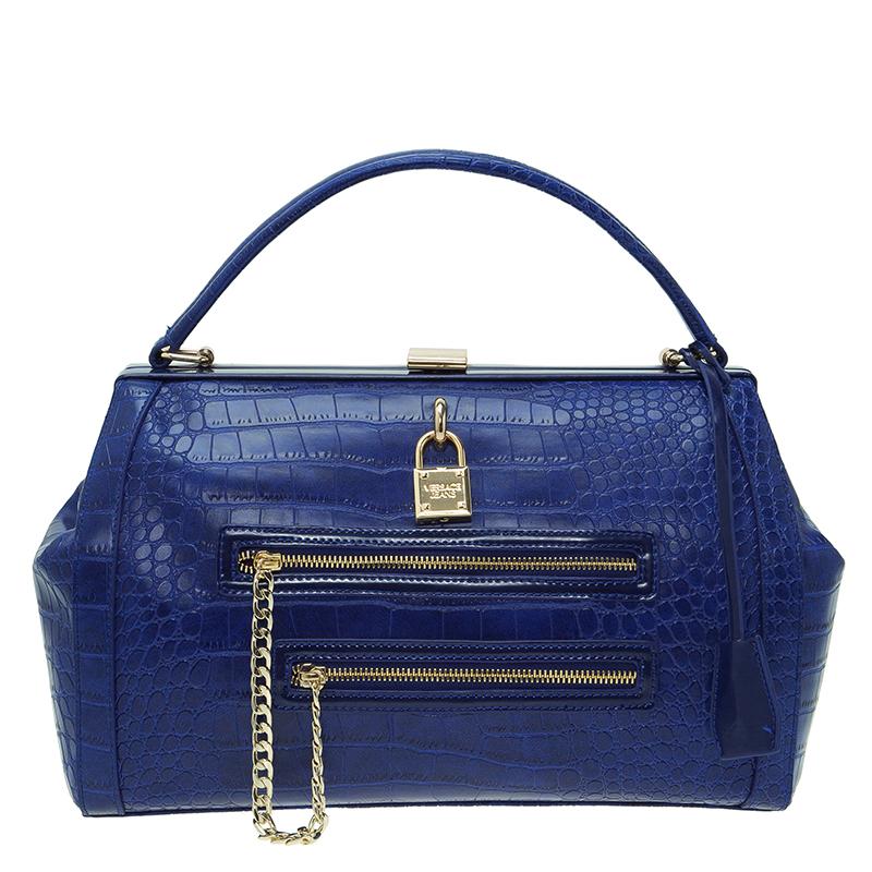 0301970fb5 ... Versace Jeans Blue Croc Embossed Leather Satchel. nextprev. prevnext