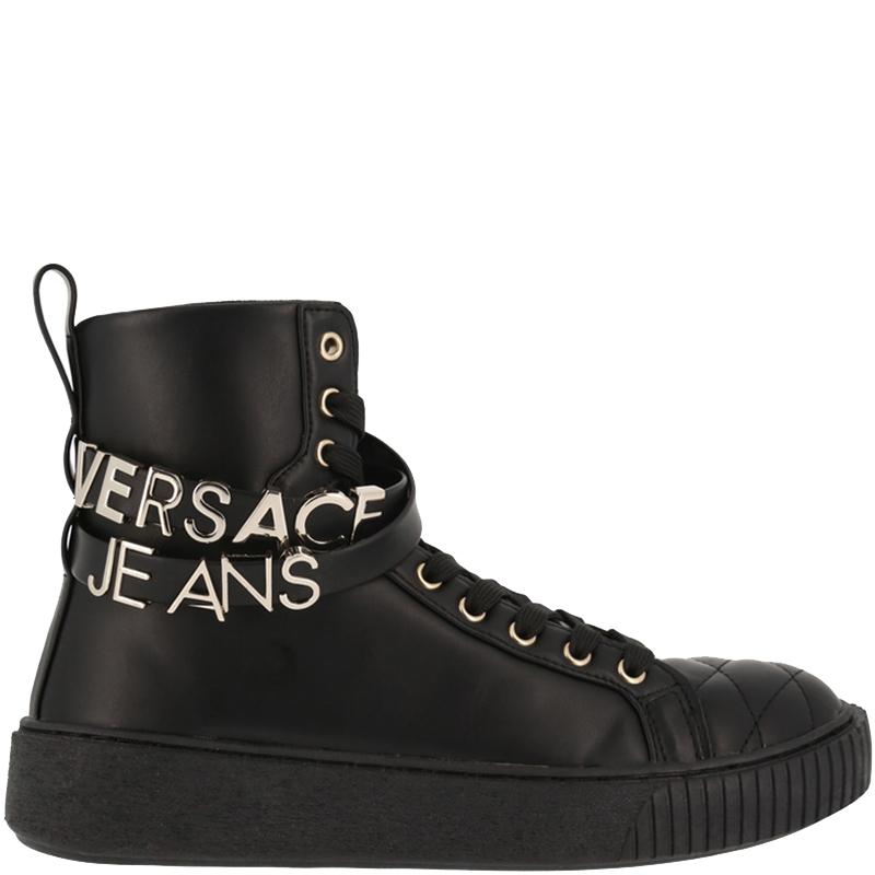 72fa2c4d3 ... Versace Jeans Black Leather High Top Sneakers Size 36. nextprev.  prevnext