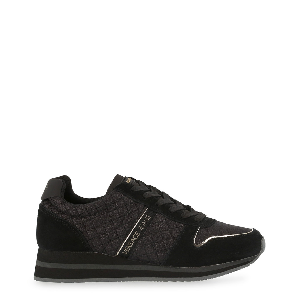 Versace Jeans Black Quilted Fabric and Suede Lace Up Sneakers Size 39