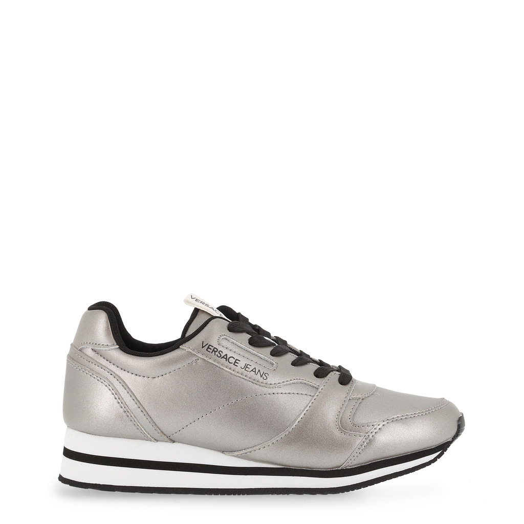 Versace Jeans Silver Faux Leather Lace Up Sneakers Size 39
