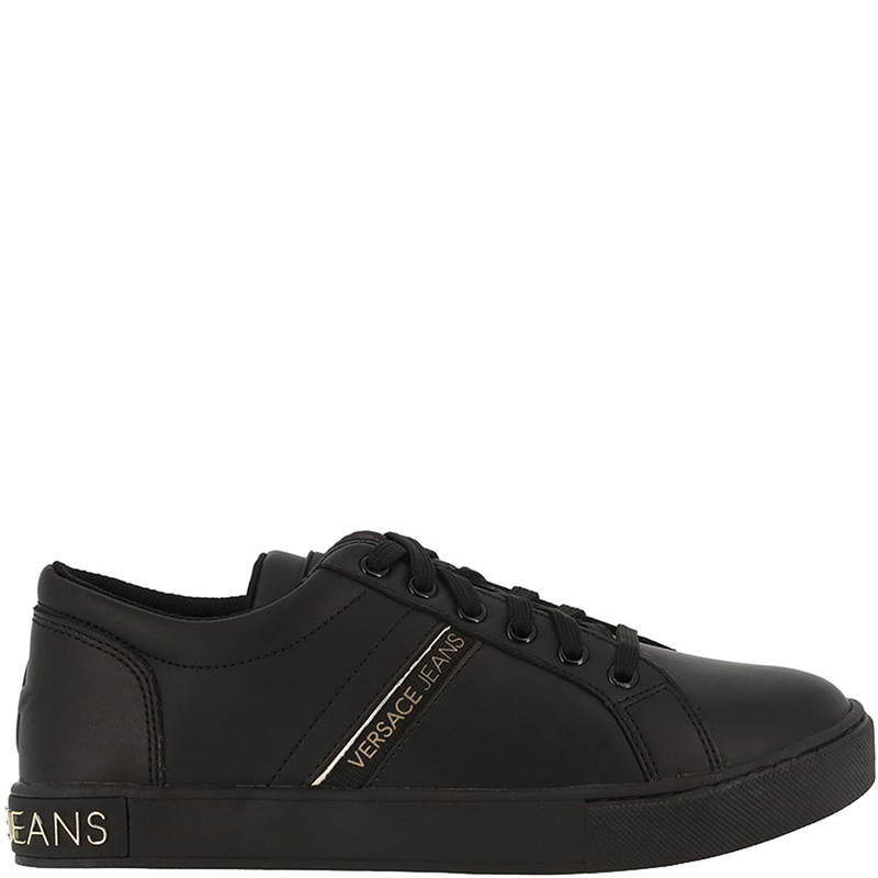 Versace Jeans Black Fabric and Leather Lace Up Sneakers Size 38