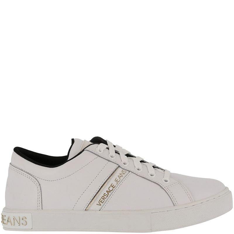 Versace Jeans White Fabric and Leather Lace Up Sneakers Size 38