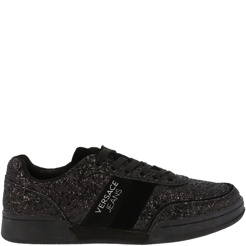 d5f4e9438 ... Versace Jeans Black Glitter and Faux Leather Lace Up Sneakers Size 37.  nextprev. prevnext