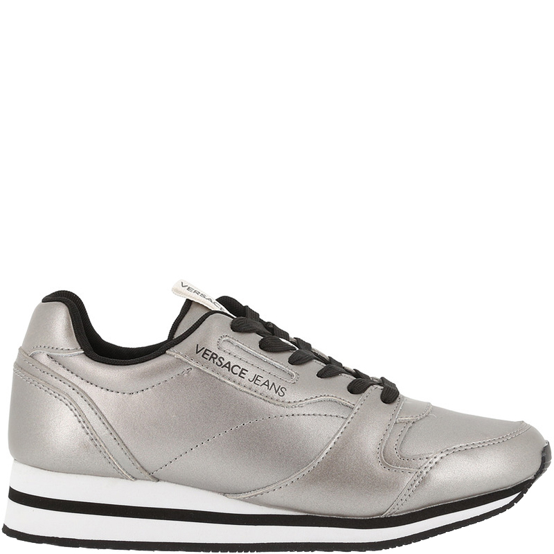 Versace Jeans Silver Faux Leather Lace Up Sneakers Size 41