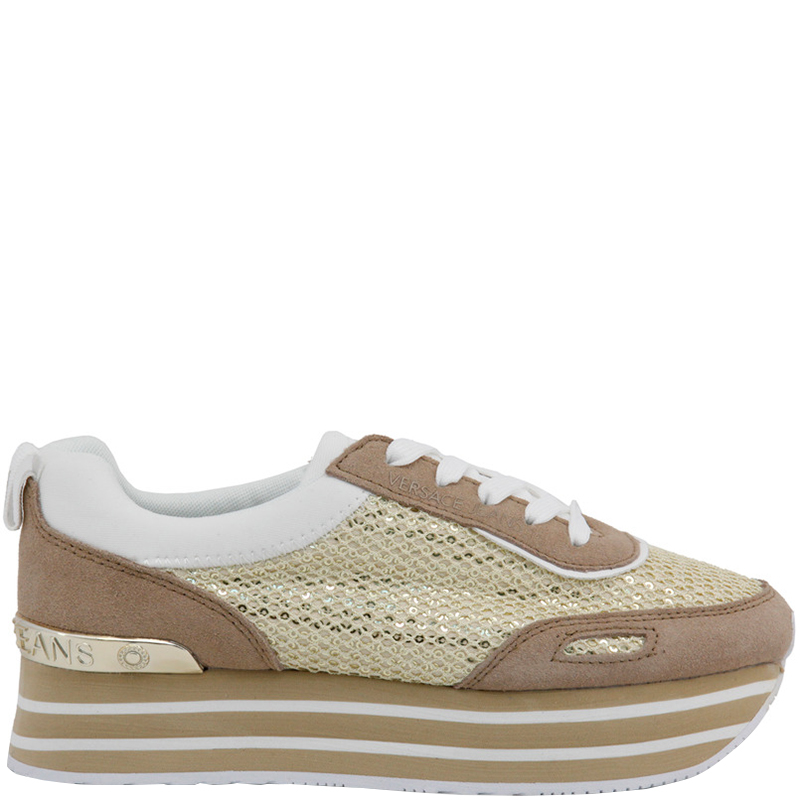 44ce07bbc0b Buy Versace Jeans Tricolor Fabric and Suede Platform Sneakers Size ...