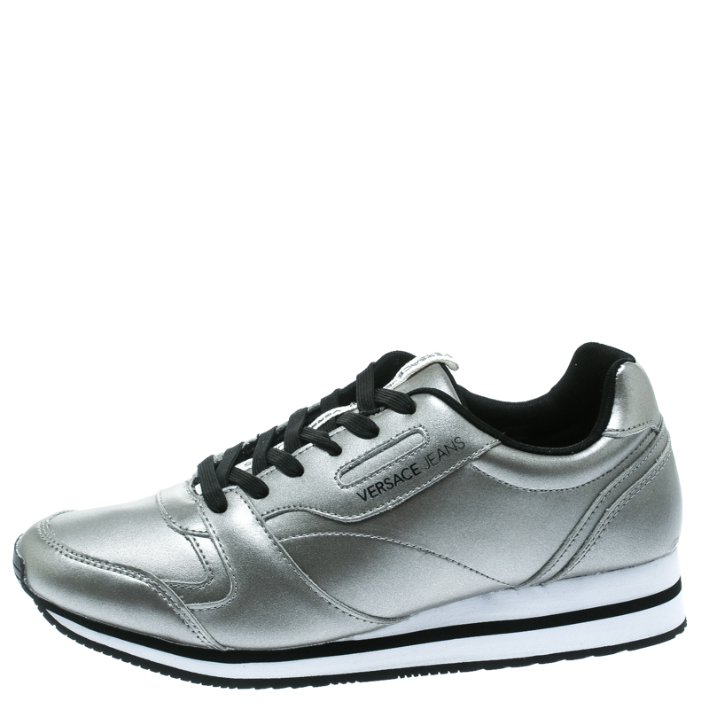 Купить со скидкой Versace Jeans Silver Faux Leather Lace Up Sneakers Size 40