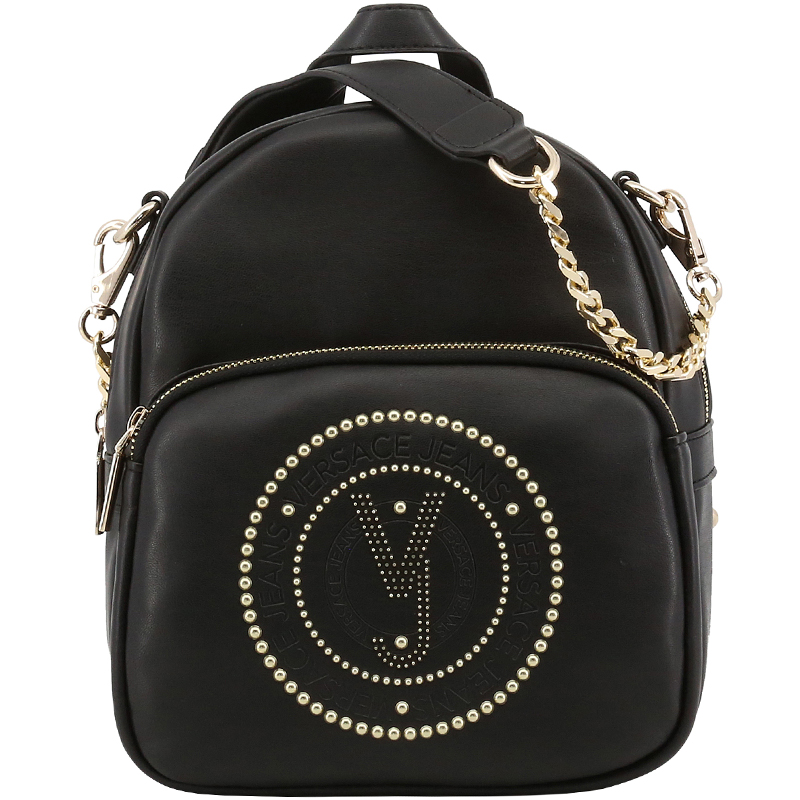 Buy Versace Jeans Black Faux Leather Chain Backpack 169485 at best ... 2fd0e9f0ed7b0