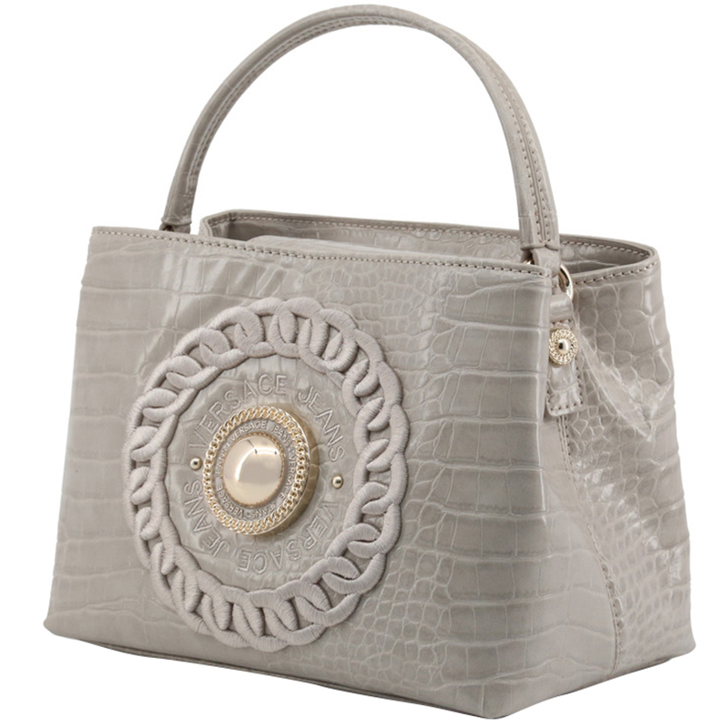 Versace Jeans Gray Embossed Synthetic Leather Top Handle Bag, Grey