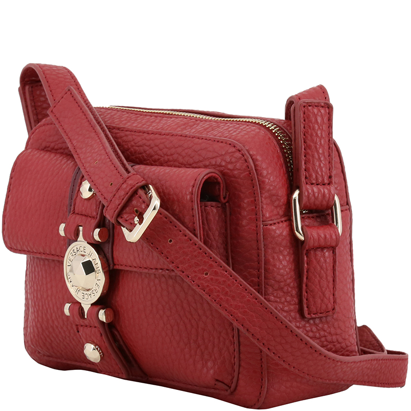 Versace Jeans Red Pebbled Faux Leather Crossbody Bag