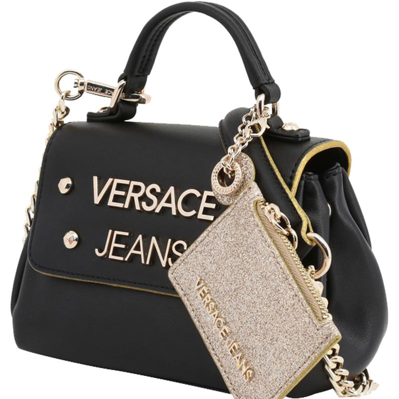 Versace Jeans Black Faux Leather Top Handle Bag
