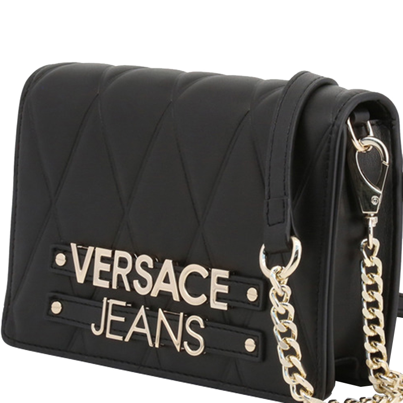Versace Jeans Black Quilted Faux Leather Crossbody Bag