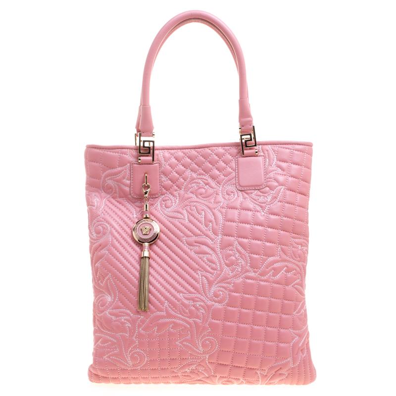 8ef1914daef6 ... Versace Pink Leather Embroidered Elettra Vanitas Tote. nextprev.  prevnext