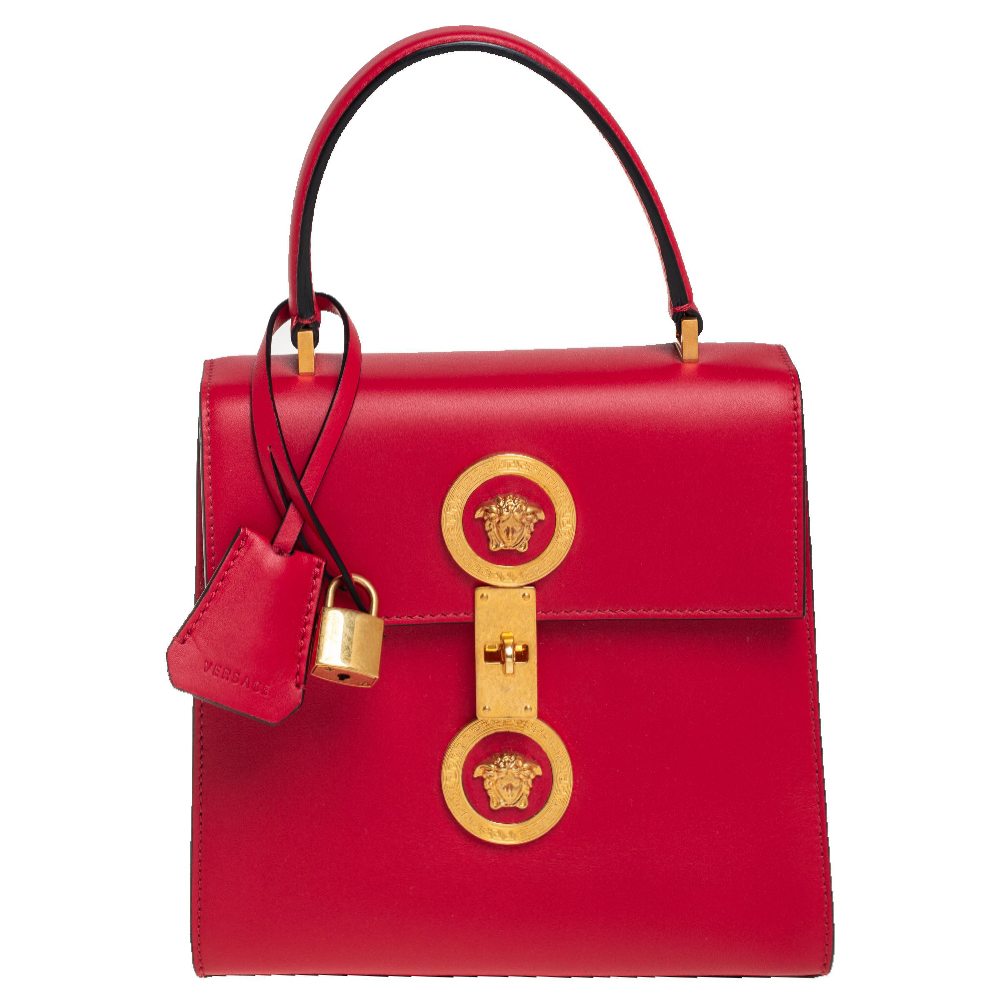 Pre-owned Versace Red Leather Icon Medusa Top Handle Bag