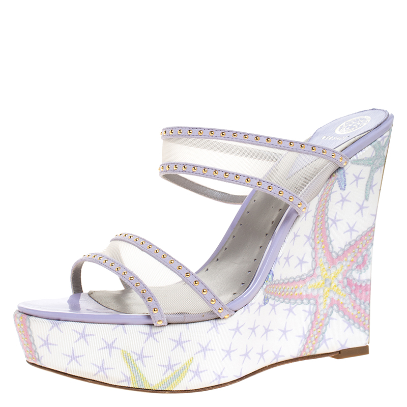 Versace Lilac Mesh And Suede Studded Trim Wedge Platform Sandals Size 40 In Multicolor
