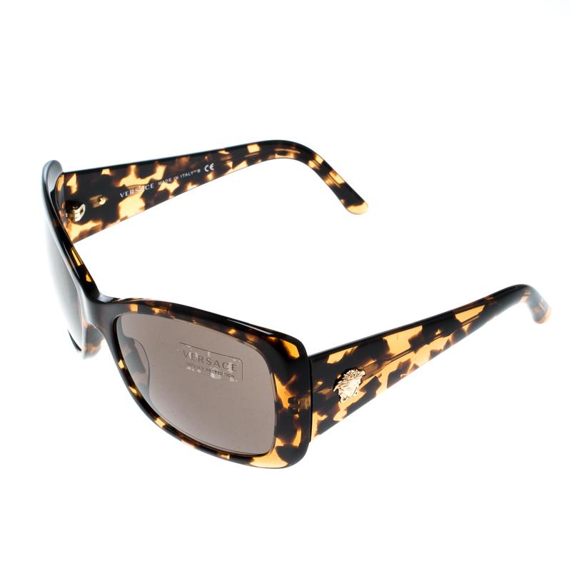 Versace Havana Brown Tortoise Shell/ Black MOD 4247 Oversized Square  Sunglasses