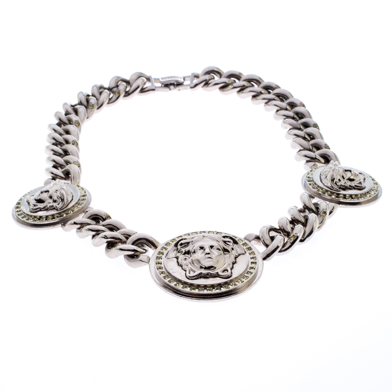 Versace Iconic Medusa Medallion Crystal Silver Tone Chain Link Statement Necklace