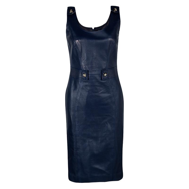 3b03e64f4e7004 Buy Versace Navy Blue Logo Detail Sleeveless Leather Dress S 112433 ...