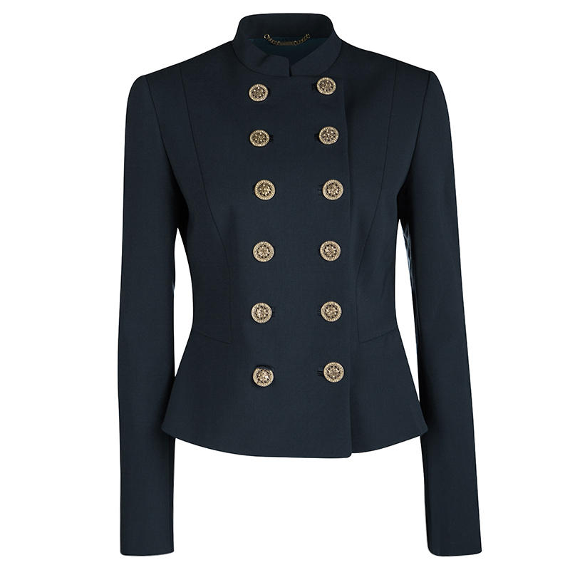 ea9f827aa8 Buy Versace Peacock Blue Mandarin Collar Double Breasted Blazer M ...
