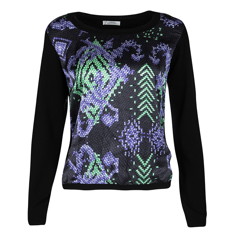 4a5791bb6d Versace Collection Black Knit Printed Silk Panel Detail Long Sleeve Top M