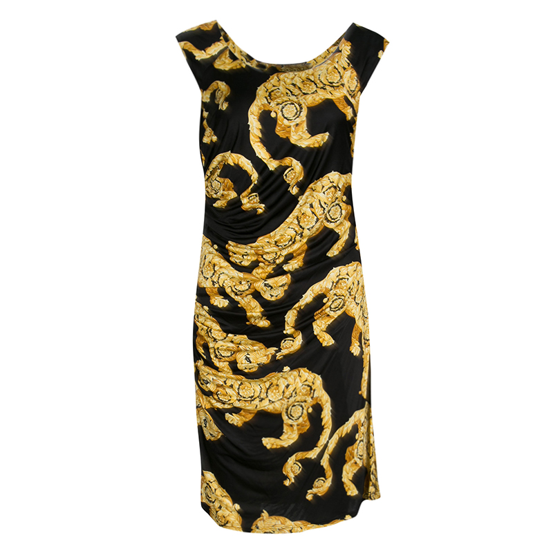 c4a6fbc6f605 Buy Versace Collection Black and Gold Cat Print Sleeveless Draped ...