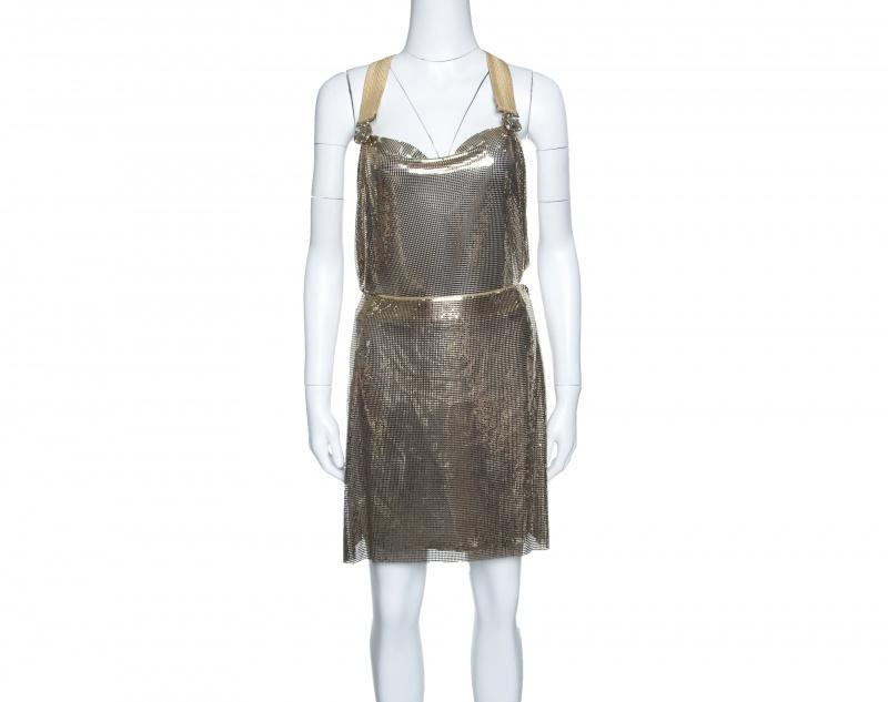 Gianni Versace Couture Vintage Oroton Gold Metal Mesh Bodysuit and Skirt Set M