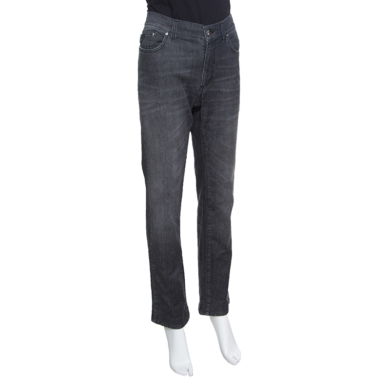 Купить со скидкой Versace Collection Grey Faded Effect Denim Trend Fit Jeans L