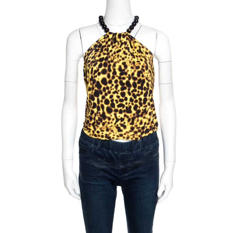 Купить со скидкой Versace Yellow Leopard Print Beaded Halter Top M