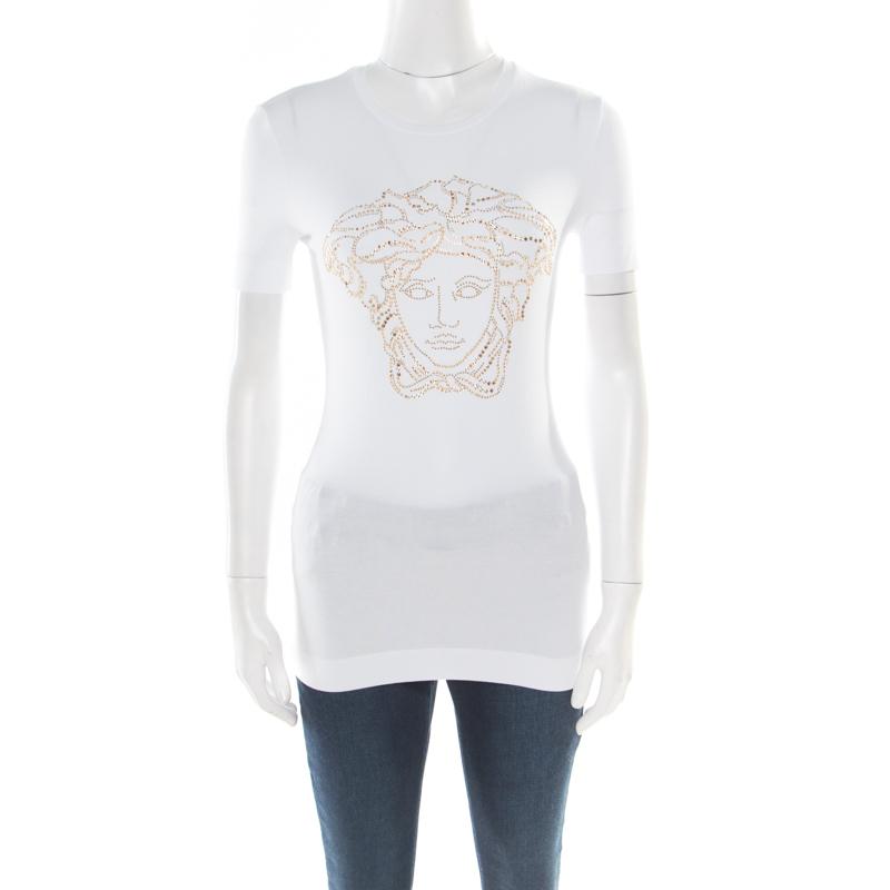 b47c8159de ... Versace White Crystal Embellished Medusa Icon Short Sleeve T-Shirt S.  nextprev. prevnext