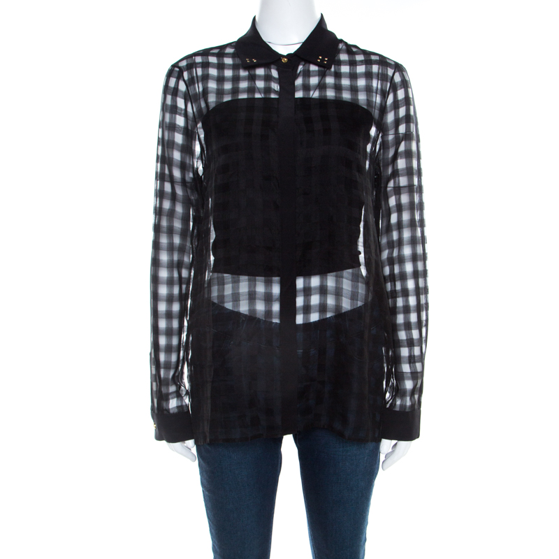 Versace Black Sheer Checkered Cotton Silk Gold Medusa Button Detail Shirt S