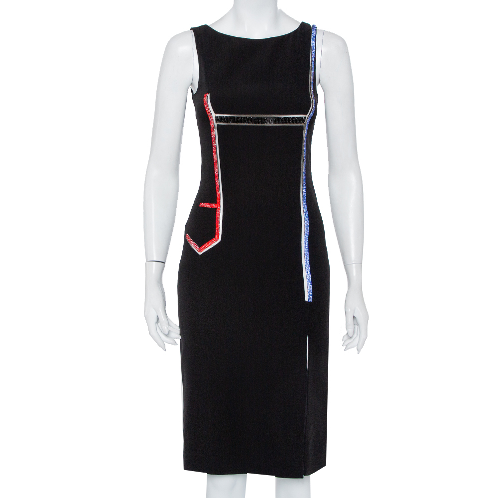 Pre-owned Versace Black Crepe Stone Embellished Sheath Dress S
