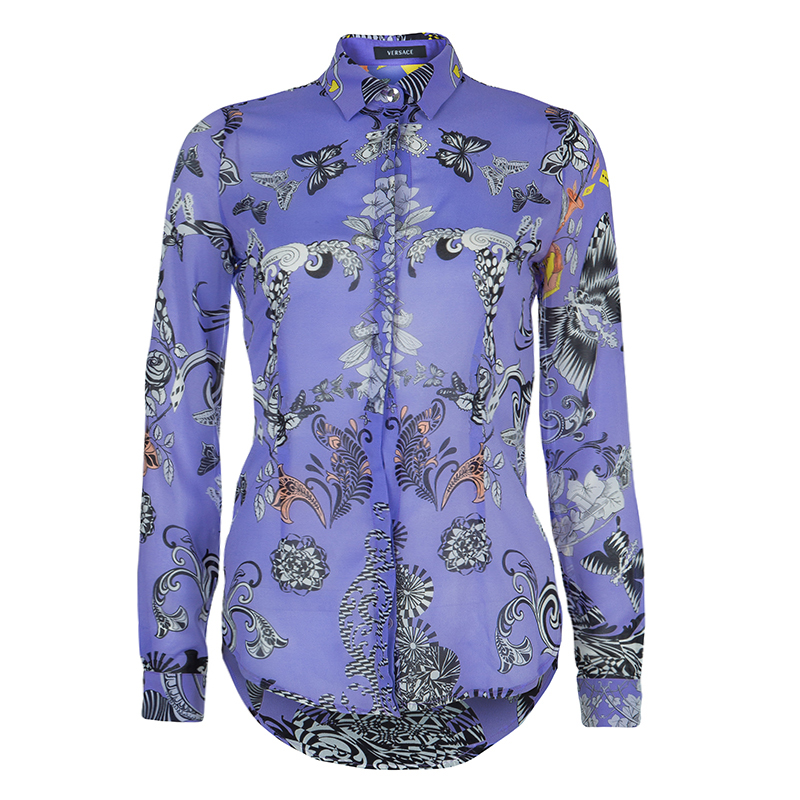 8be1eb2e8823b3 Buy Versace Lilac Printed Long Sleeve Button Down Silk Shirt S 57916 at  best price